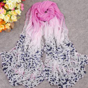 New Gradient Color Irregular Print Anti-UV Scarf For Women - COLOR ASSORTED