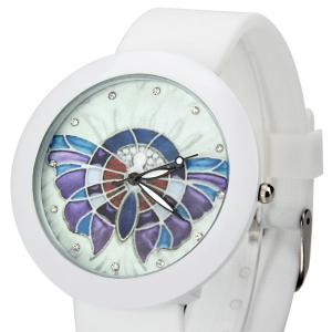 Luxurious Quartz Watch Colorful Butterfly Round Dial Rubber Watchband for Women -
