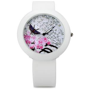 Plum Blossoms Quartz Watch Round Dial Rubber Watchband for Women -