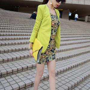 Casual Plunging Neck Long Sleeves Solid Color Flounce Blazer For Women -