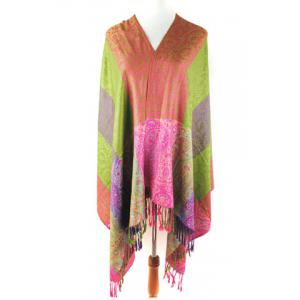 Chic Style Floral Print Color Block Tassels Pashmina For Women -