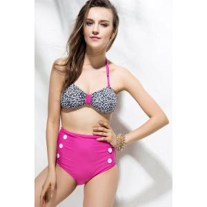 Halter Leopard Print High Waisted Bikini Set - ROSE MADDER L