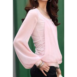 Stylish Scoop Neck Voile Splicing Translucent Long Sleeve Women's Chiffon Blouse -