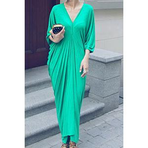 Maxi Plunge Neck Batwing Sleeve Casual Dress