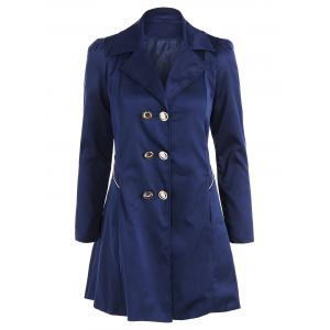 Fit and Flare Coat With Double Breasts - Cadetblue - 2xl