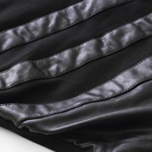 Faux Leather Panel Zippered Motorcycle Pants -