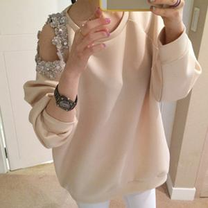 Stylish Scoop Neck Hollow Out Beaded Sweatshirt For Women