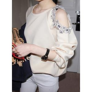 Stylish Scoop Neck Hollow Out Beaded Sweatshirt For Women -