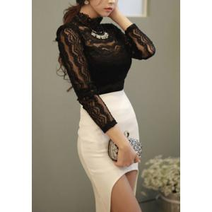 Fashionable Turtle Neck See-Through Lace Long Sleeve Women's Blouse -