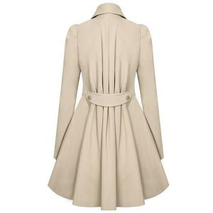 Casual Turn-Down Collar Solid Color Double-Breasted Long Sleeve Women's Coat -