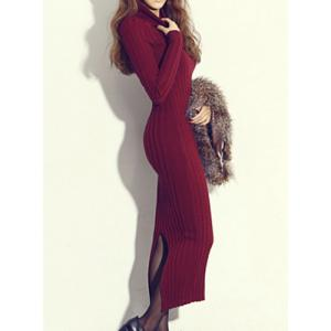 Simple Turtle Neck Long Sleeve Furcal Bodycon Knitted Women's Dress -