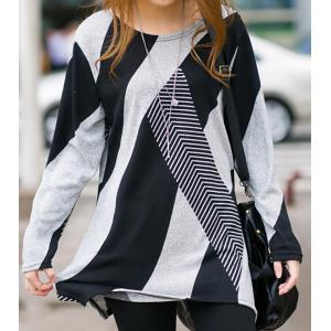 Stylish Scoop Neck Long Sleeves Geometric Printed Irregular Hem T-Shirt For Women - Black - One Size