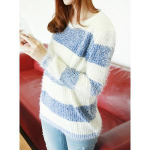 Blue One Size Casual Style Jewel Neck Striped All-match ...
