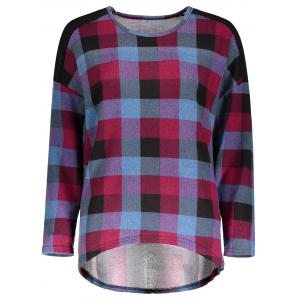 Casual Scoop Neck Long Batwing Sleeve Plaid Spliced Women's T-Shirt