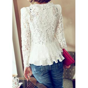 Elegant Long Sleeves Shoulder Pads Solid Color Hollow Out Lace Cardigan For Women(Without Tank Top) -