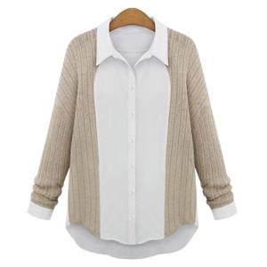 Casual Shirt Collar Long Sleeve Spliced Single-Breasted Women's Shirt