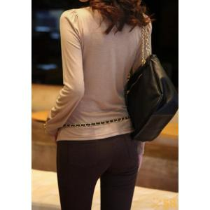 Stylish V-Neck Solid Color Long Sleeve Women's T-Shirt -