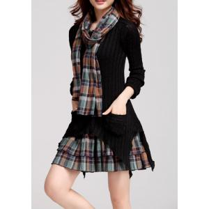 Fashionable Jewel Neck Checked Print Splicing Slimming Long Sleeve Women's Sweater Dress -