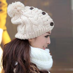 Fuzzy Ball Buttons Knitted Hemp Toboggan Hat - COLOR ASSORTED ONE SIZE