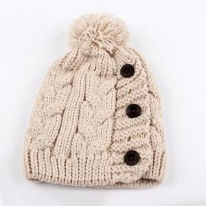 Fuzzy Ball Buttons Knitted Hemp Toboggan Hat -