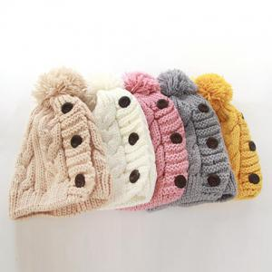 Fuzzy Ball Buttons Knitted Hemp Toboggan Hat