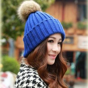 Fuzzy Ball Knitted Winter Toboggan Hat -