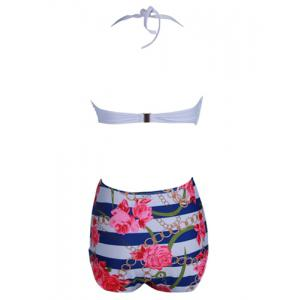 Cute Halter Floral Print High-Waisted Bikini Set For Women -