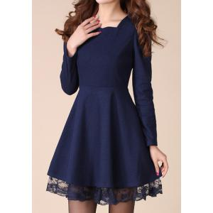 Stylish Sweetheart Neck Lacework Splicing Slimming Long Sleeve Women's Dress -