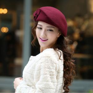 Vintage Two Flowers Design Beret French Hat - DARK RED ONE SIZE