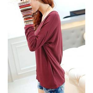 Casual Scoop Neck Long Sleeves Striped Splicing T-Shirt For Women -