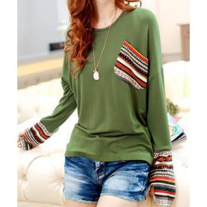 Casual Scoop Neck Long Sleeves Striped Splicing T-Shirt For Women