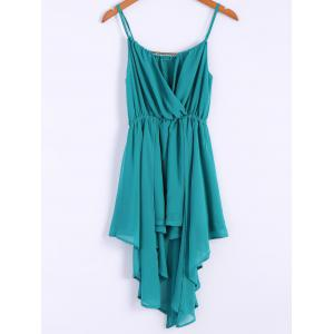 Alluring Spaghetti Strap Solid Color Irregular Hem Women's Chiffon Dress - Lake Green - M