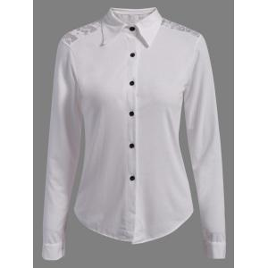Single-Breasted Lace Panel Formal Tuxedo Shirt