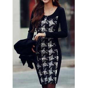 Stylish Scoop Neck Long Sleeves Printed Dress For Women -
