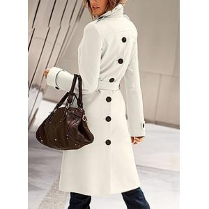 Stylish Flat Collar Long Sleeve Solid Color Coat For Women -