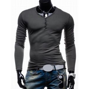 Long Sleeves Plain V Neck Button T Shirts