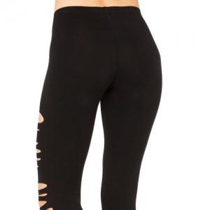 Stylish Solid Color Hole Stretchy Leggings For Women -