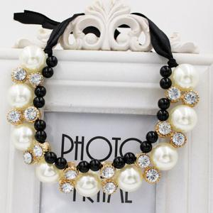 Gorgeous Chic Style Pearl and Rhinestone Decorated Black Ribbon Necklace For Women - COLOR ASSORTED