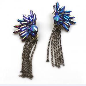 Pair of Beads Rhinestone Fringed Drop Earrings -