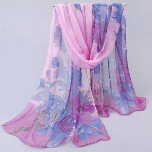 Elegant Colorful Peony Printed Chiffon Scarf For Women -