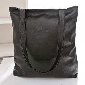 Concise PU Leather and Black Design Women's Shoulder Bag -