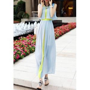 Sleeveless Scoop Neck High Waistline Stitching Cape-style Ladylike Women's Dress - LIGHT GREEN L