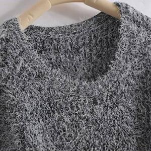 Mohair Fuzzy Pullover Sweater -