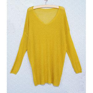 Stylish V-Neck Loose-Fitting Dolman Sleeve Sweater For Women - YELLOW ONE SIZE
