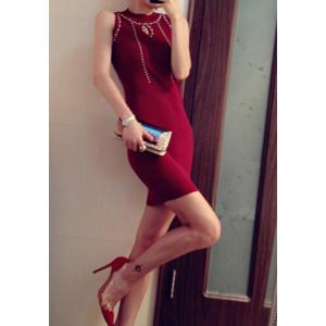 Sexy Round Collar Rivet Embellished Bodycon Knitted Sleeveless Women's Dress -