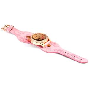 Womage 9965-3 Quartz Watch with Diamond Flower Leather Watchband for Women -