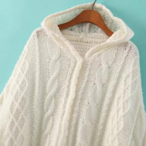 Stylish Hooded Solid Color Cable Knit Hollow Out Long Sleeve Knitted Cloak For Women -