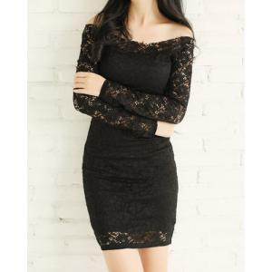 Lace Off Shoulder Pencil Sheath Dress