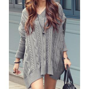 Oversized Cable Knit Slouchy Jumper Dress - Gray - One Size(fit Our Size)