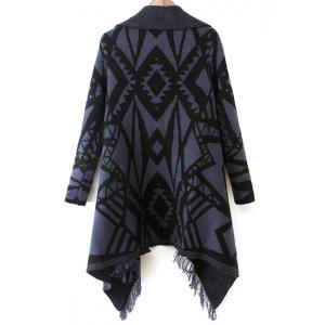 Stylish Turn-Down Collar Long Sleeve Geometric Pattern Tassel Women's Cardigan -